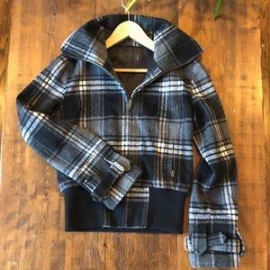 Plaid Bomber Zip up Jacket with Collar | Small